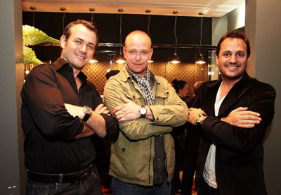 Founders Josh Reed (left) and Troy Barbagallo (right) with Peter Speake-Marin at the opening of the Swiss Time Machine boutique in Perth, Australia