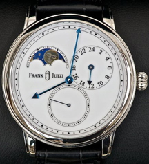 Frank Jutzi watch with lunar phase, small seconds and second time zone