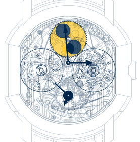 The schematic image of Daniel Roth watch with perpetual calendar