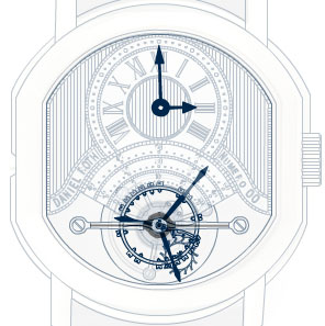 The schematic image of Daniel Roth watch with tourbillon