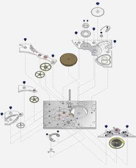 design of Pierre Kunz watch mechanism details