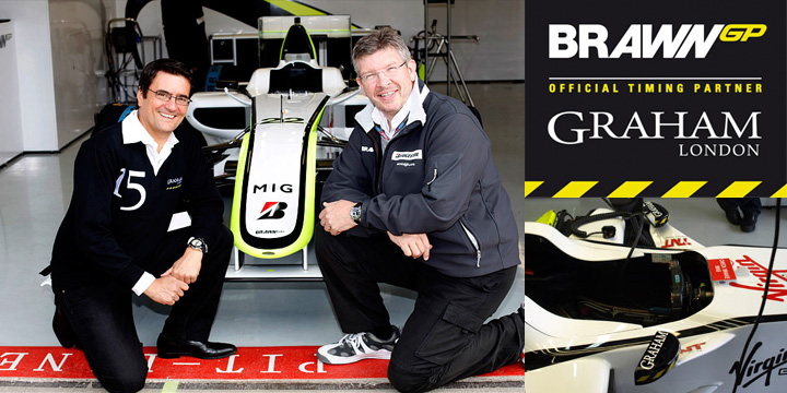 The head of Graham Eric Lot and leader of Brawn GP Ross Brawn at the formula 1 Brawn GP