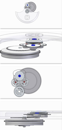 Damasko watch mechanism's parts