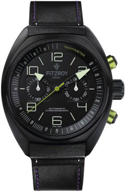 Fitzroy Black Steel Automatic Chronograph