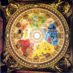 painting on the ceiling of the Opera Garnier in Paris