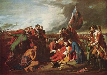 "Benjamin West. ""The Death of General Wolfe."" The painting also shows the Battle of Quebec"