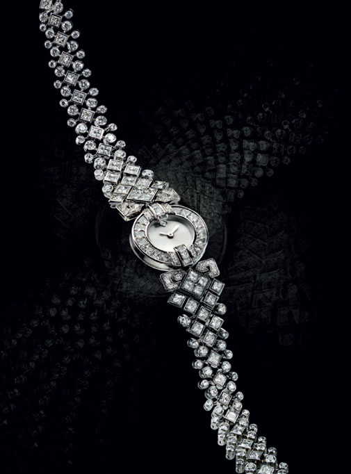 Classic rivière watch in white gold and diamonds