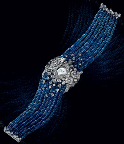 Secret watch with sapphire beads and diamonds