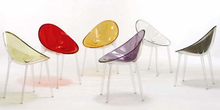 multi-colored plastic chairs by Starck