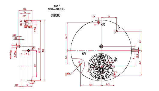 technical drawing of Sea-Gull ST 8000 movement