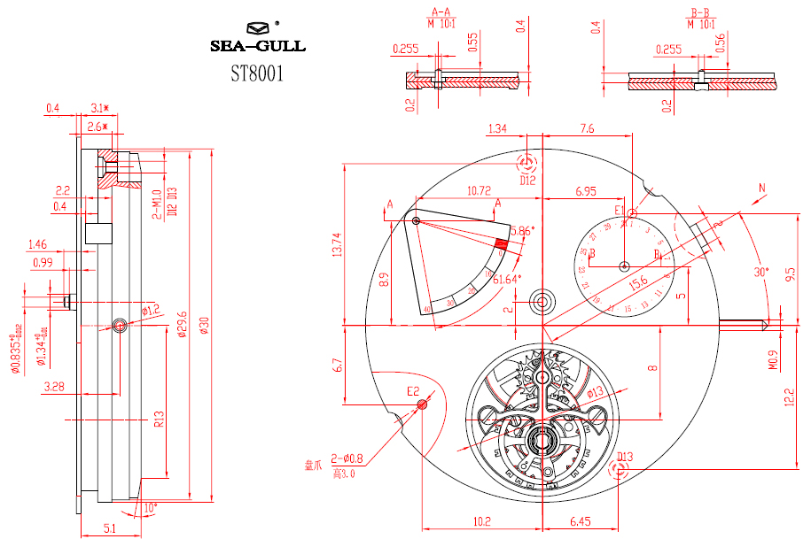 technical drawing of Sea-Gull ST 8001 movement