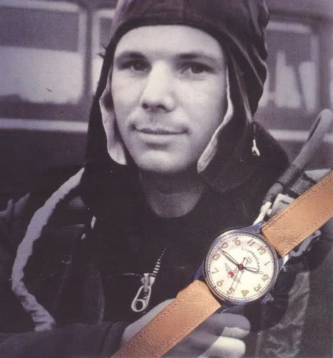 "Yuri Gagarin with his watch ""Shturmanskie"""