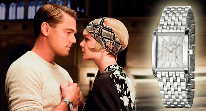 "Leonardo DiCaprio with Raymond Weil watch in the movie ""The Great Gatsby"""