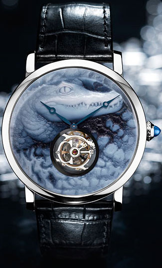 Rotonde de Cartier watch, crocodile motif, cameo