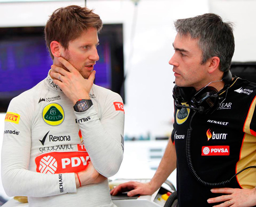 Romain Grosjean and Nick Chester, technical director of Lotus Formula-1 team