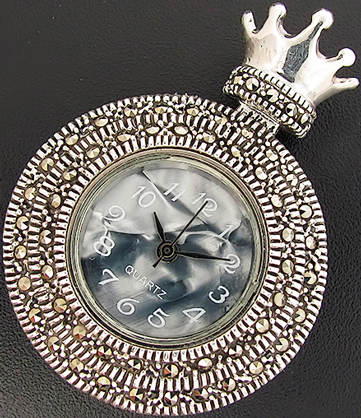 pendant-watch from sterling silver (925) with marcasite