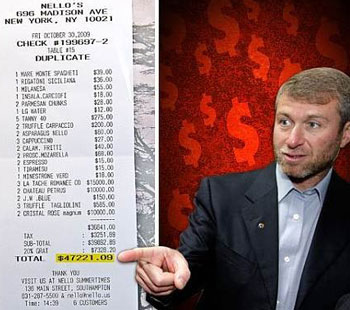 Abramovich's most expensive dinner