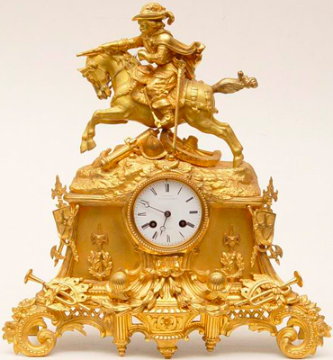"Mantel clock ""Cavalier on horseback"""