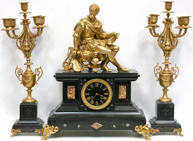 "Mantel clock ""Musician"" with twin chandeliers"