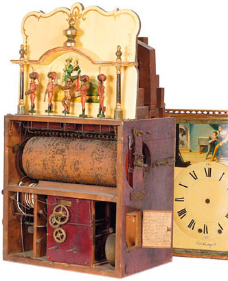 Musical clock with organ