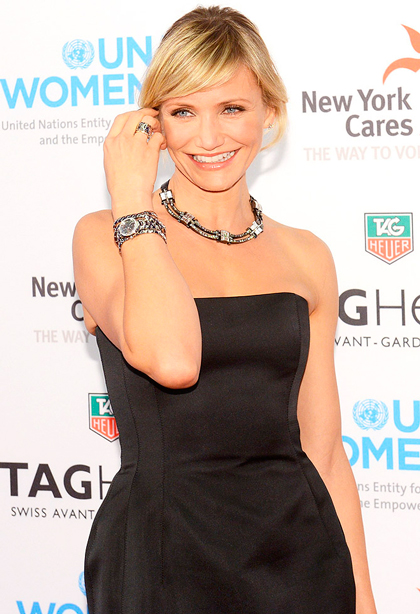 Cameron Diaz with TAG Heuer Link Lady Trilogy Limited Edition watch