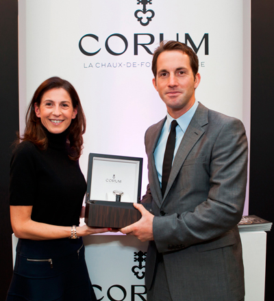 Marie-Alexandrine Leibowitch hands Admiral's Cup Legend 42 Tourbillon Micro-Rotor watch to Ben Ainslie