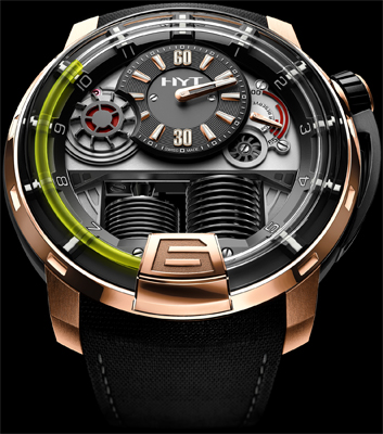 HYT H1 Hydro Mechanical Watch black DLC - Pink gold (5N)