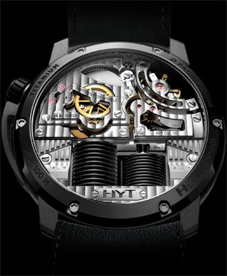 HYT H1 Hydro Mechanical Watch Black DLC backside