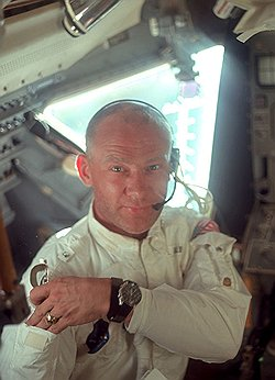 Buzz Aldrin with Omega Speedmaster watch