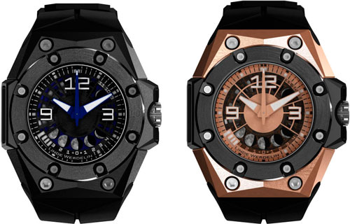Oktopus II Moon Black and Oktopus II Moon Gold watches by Linde Werdelin
