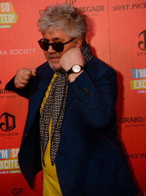 Pedro Almodovar with Girard-Perregaux 1966 Full Calendar watch