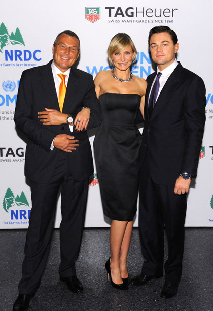 TAG Heuer President and CEO Jean-Christophe Babin, Cameron Diaz and Leonardo DiCaprio