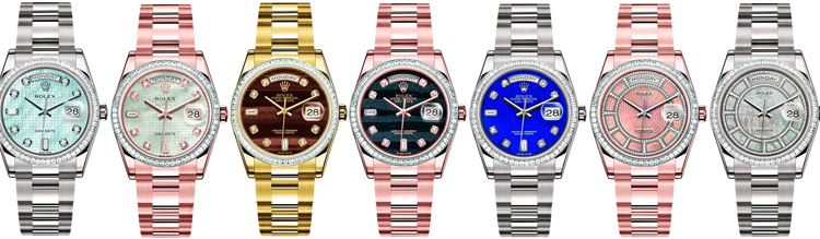 "Rolex Oyster Perpetual Day-Date ""Sertie"" watches"