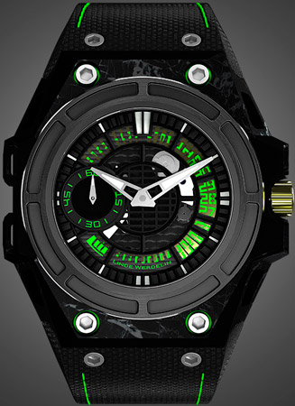 SpidoLite II Tech Green watch by Linde Werdelin