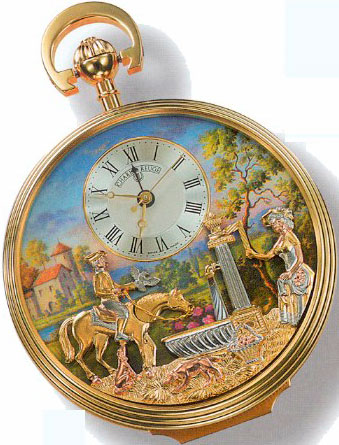 Reuge musical pocket watch with automatons