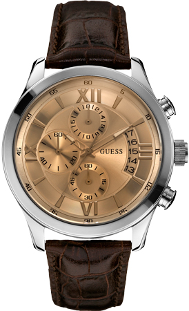 Guess (Ref. W0192G1) watch with champagne-colored dial