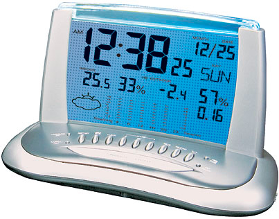 WENDOX W9304-S/GR - desk clock - weather station with remote temperature sensors and capacity to collect rainfall. The transparent display with backlit.