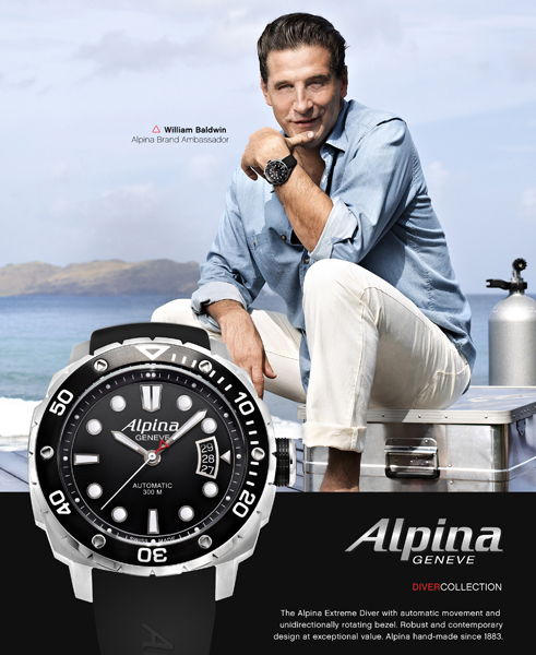 William Baldwin presents sporty line Alpina Extreme Diver
