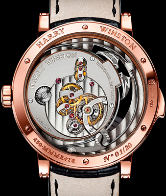 caseback of Harry Winston Midnight Minute Repeater (Ref. MIDMMR42RR0003)