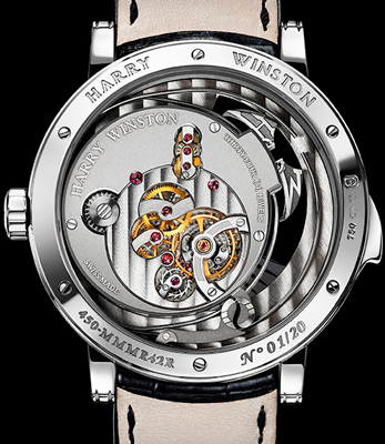caseback of Harry Winston Midnight Minute Repeater (Ref. MIDMMR42WW004)