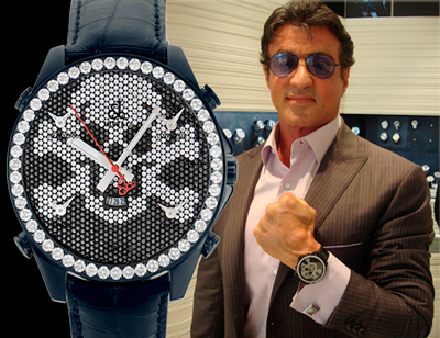 Sylvester Stallone with Jacob & Co Skull Five Time Zone watch