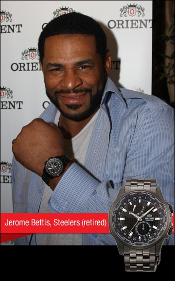 Jerome Bettis, Steelers (retired) with Orient watch