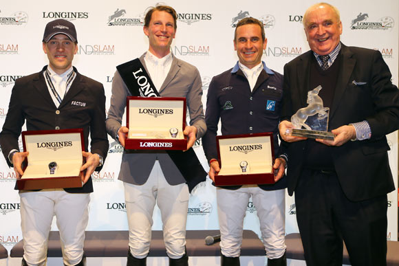Longines Hong Kong Masters 2014: Simon Delestre, second at the Longines Speed Challenge, Kevin Staut, winner of the Longines Speed Challenge, Julien Epaillard, third at the Longines Speed Challenge, and Mr. Walter von Känel, President of Longines