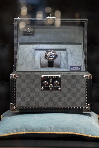 The watch in the showcase of the new Louis Vuitton jewelry and watch shop on the Place Vendome in Paris