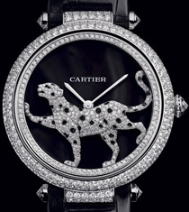 graceful panther on the Cartier Masse Secrete Panther Decor watch dial