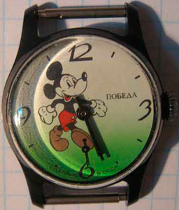 Famous Mickey Mouse, strolling around the dial and delighting children