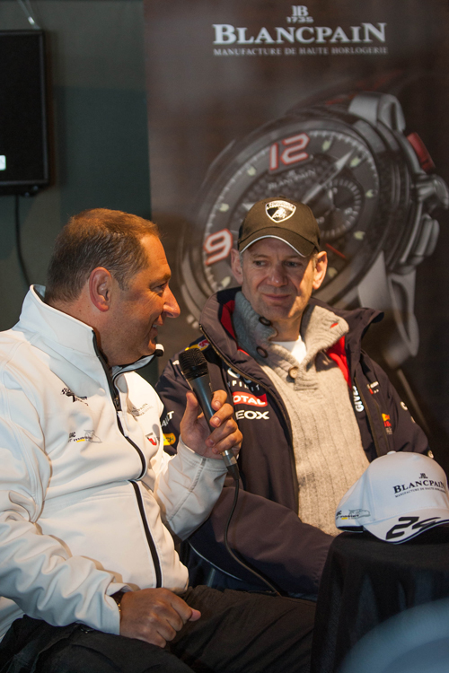 Alain Delamuraz, Vice President and Head of Marketing Blancpain and Adrian Newey, Chief Technical Officer Red Bull Racing Team Formula 1