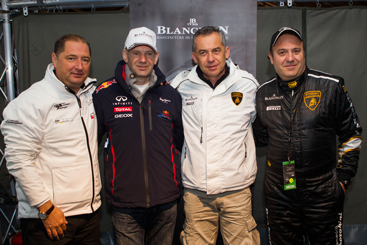 Alain Delamuraz, Vice President and Head of Marketing Blancpain, Adrian Newey, Chief Technical Officer Red Bull Racing Team Formula 1, Maurizio Reggiani, Research & Development Director Automobili Lamborghini and Alberto Sabbatini, Autosprint magazine