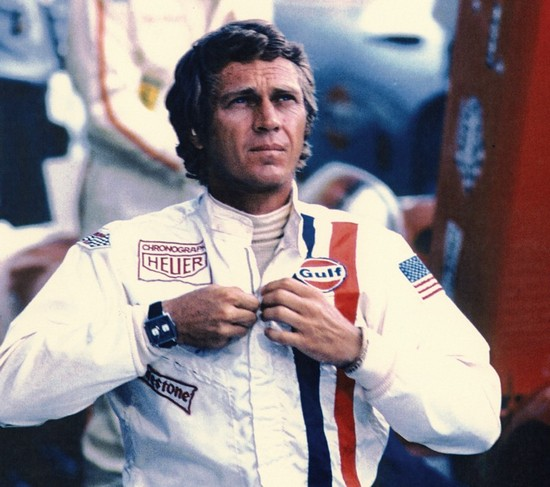 "Steve McQueen with TAG Heuer Monaco Chronograph in the famous movie ""Le Mans"""