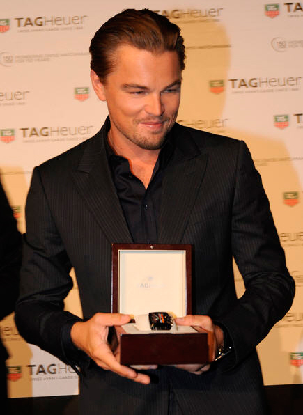Leonardo DiCaprio with Tag Heuer Monaco Twenty Four Calibre 36 Chronograph watch